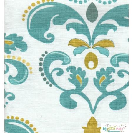 Tissu bleu blanc arabesque