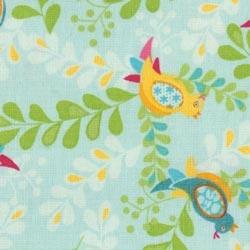 Tissu bleu oiseaux