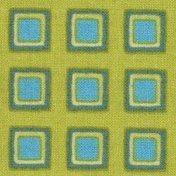 Tissu vert anis carreaux bleus