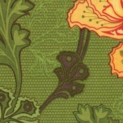 Tissu vert motifs grosses...
