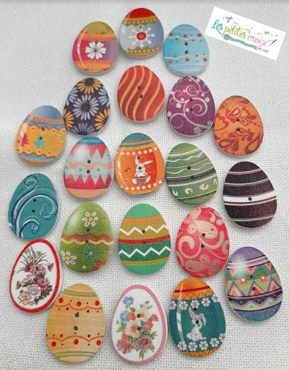 Bouton bois Oeufs de Pâques