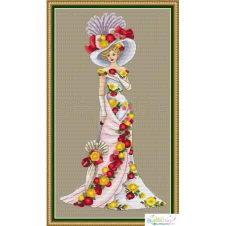 Lady with flowers dress