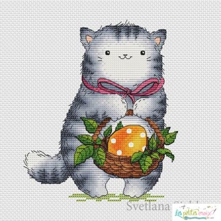 Chat avec oeuf de Pâques