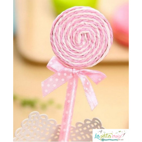 Stylo sucette rose