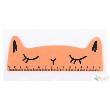 Règle en bois chat de 15 cm