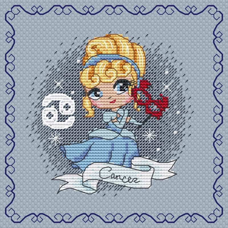 Projet complet de grilles de point de croix - Zodiacal Princess - Les petites croix de Lucie