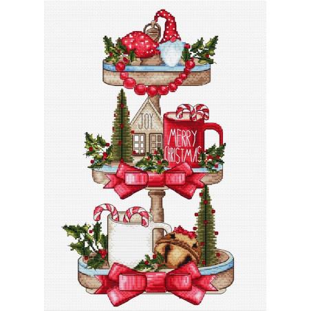 Grille point de croix - L'étagère de Noël - Les petites croix de Lucie