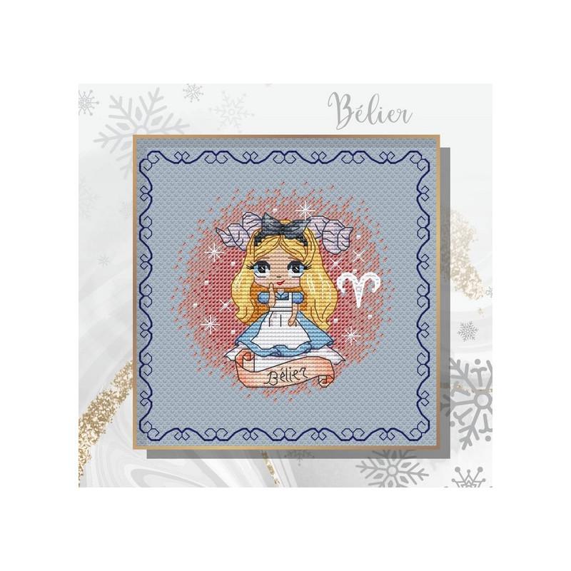 Projet complet de grilles de point de croix - Zodiacal Princess BELIER - Les petites croix de Lucie