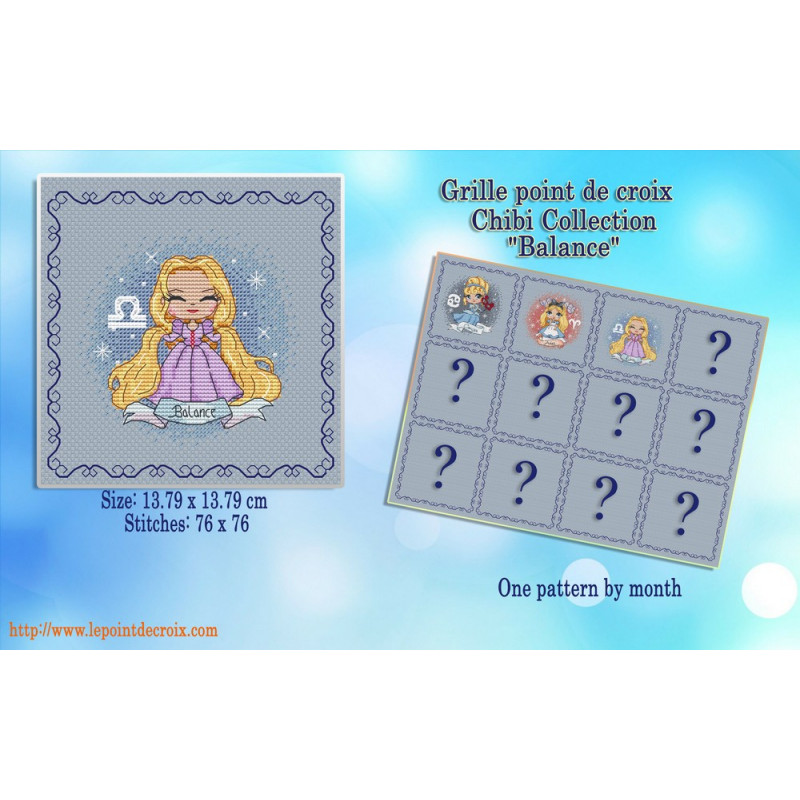 Projet complet de grilles de point de croix - Les princesses du zodiaque BALANCE - Les petites croix de Lucie