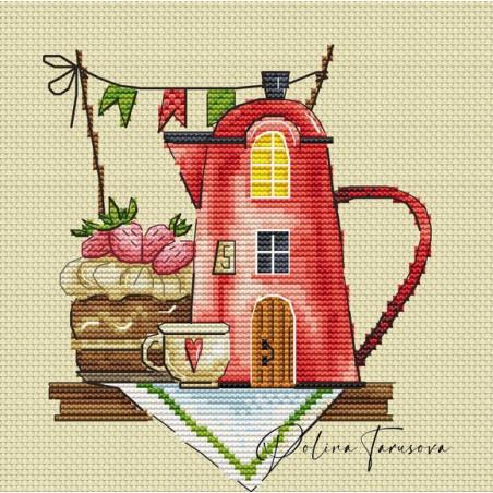 Grille point de croix - Polina - Maison café et pâtisserie