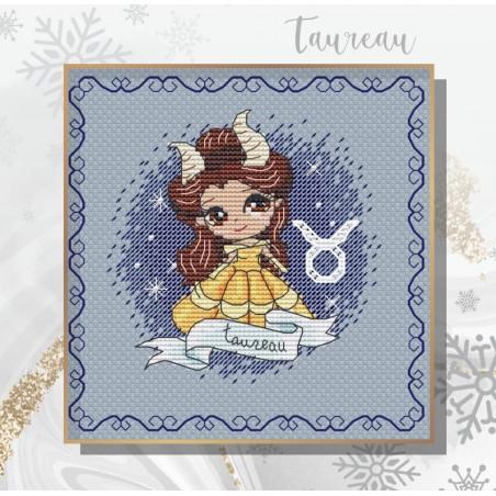Projet complet de grilles de point de croix - Les princesses du zodiaque TAUREAU - Les petites croix de Lucie
