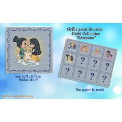 Projet complet de grilles de point de croix - Les princesses du zodiaque GEMEAUX - Les petites croix de Lucie
