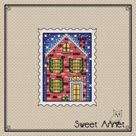 Grille point de croix  - Timbre maison de noël - Sweet Annet
