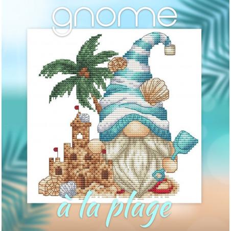 Grille point de croix -  Gnome à la plage - Les petites croix de Lucie