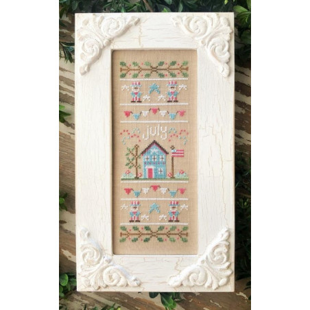 Grille point de croix - Sampler of the month JULY - Country Cottage Needleworks