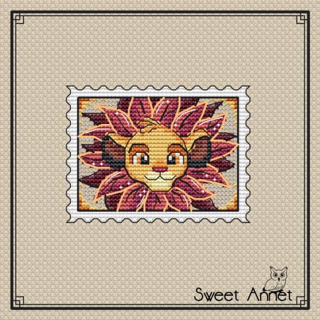 Grille point de croix - Timbre le lion  - Sweet Annet