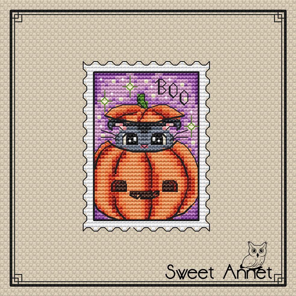 Grille point de croix - Timbre chaton d'halloween - Sweet Annet