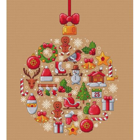 Grille point de croix - Boule de Noël - Les petites croix de Lucie