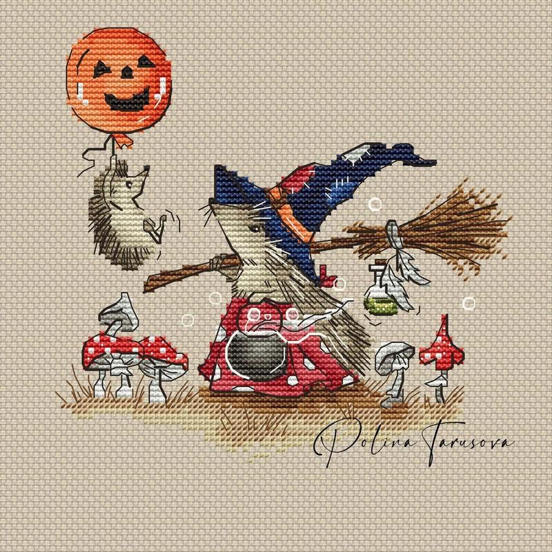 Grille point de croix - La famille Hérisson : Halloween - Polina