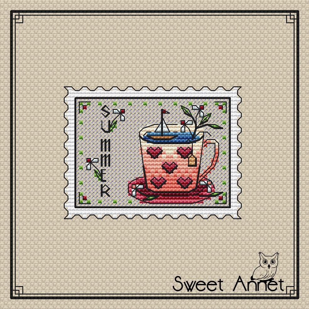 Grille point de croix - Timbre Summer - Sweet Annet