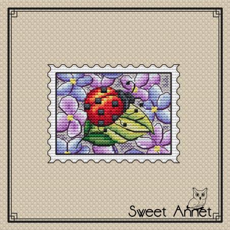 Grille point de croix - Timbre Coccinelle - Sweet Annet