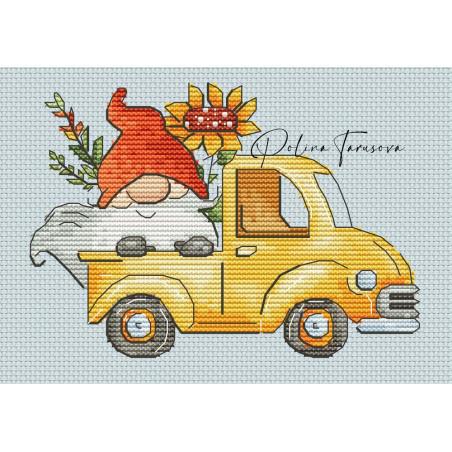 Grille point de croix - Gnome d'automne en voiture - Polina
