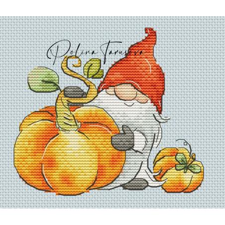 Grille point de croix - Gnome d'automne la récolte de citrouilles - Polina