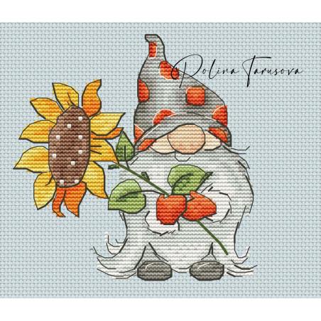 Grille point de croix - Gnome d'automne et tournesol - Polina