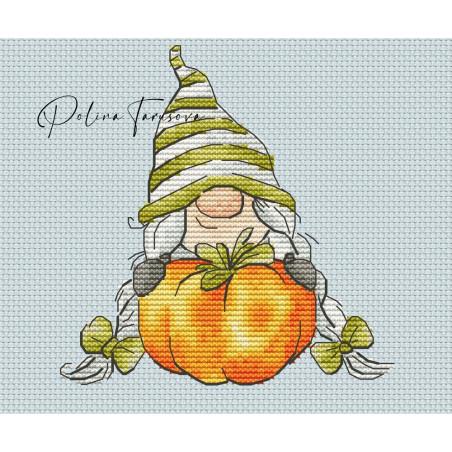 Grille point de croix - Gnome d'automne et citrouille - Polina