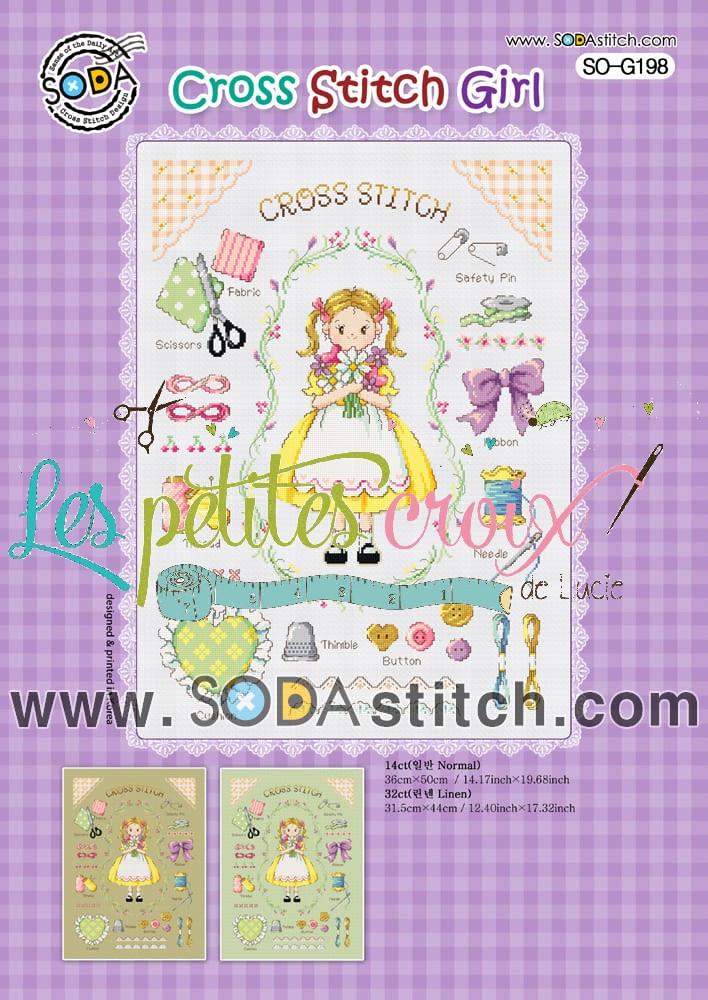 Grille point de croix - Cross stitch Girl - Soda Stitch