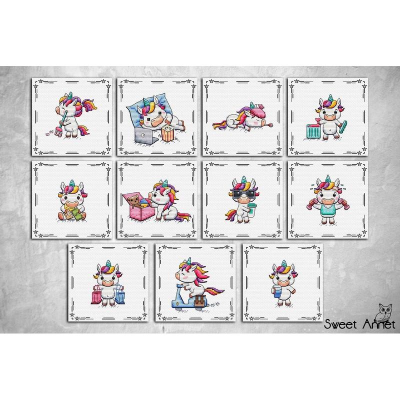 Grille point de croix - Unicorns Collection - Sweet Annet