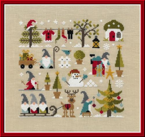 Grille point de croix - Noël chez les Gnomes - Jardin Privé